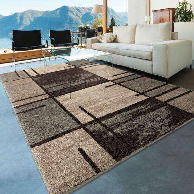 Fleet Gray 5 ft. x 8 ft. Plush Pile Blocks Indoor Area Rug