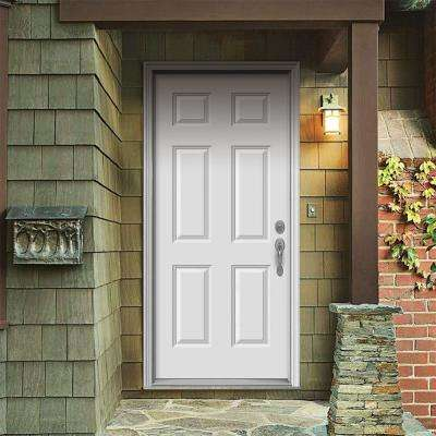 36 in. x 80 in. 6-Panel Primed Steel Prehung Left-Hand Inswing Front Door w/Brickmould