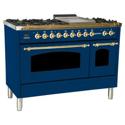 48 in. 5.0 cu. ft. Double Oven Dual Fuel Italian Range True Convection, 7 Burners, Griddle, LP Gas, Brass Trim in Blue