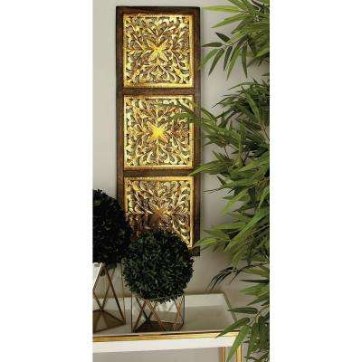 36 in. x 12 in. Modern Decorative Lattice-Patterned Wood and Iron Wall Panel in Silver and Gold Foil (2-Pack)
