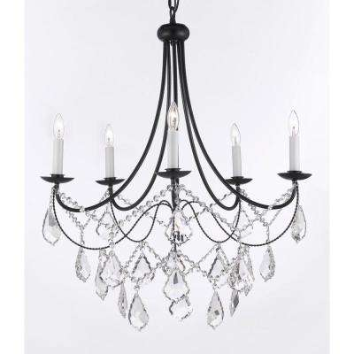 Versailles 5-Light Black Iron Chandelier with Crystal