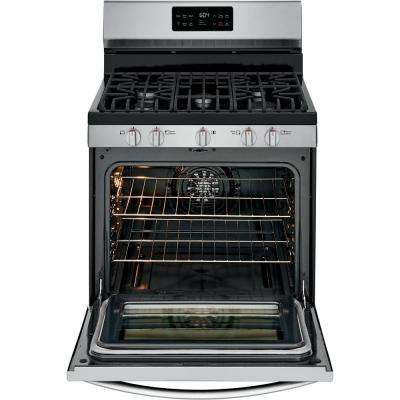 30 in. 5 cu. ft. Gas Range with Steam Clean Quick Bake Convection in Smudge-Proof Stainless Steel