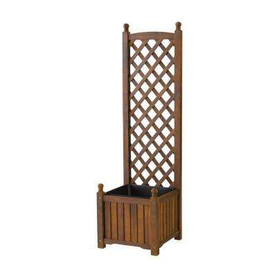 Lexington 16 in. Square Natural Wood Planter with Trellis