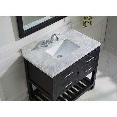 Caroline Estate 36 in. W Bath Vanity in Espresso with Marble Vanity Top in White with Square Basin and Mirror