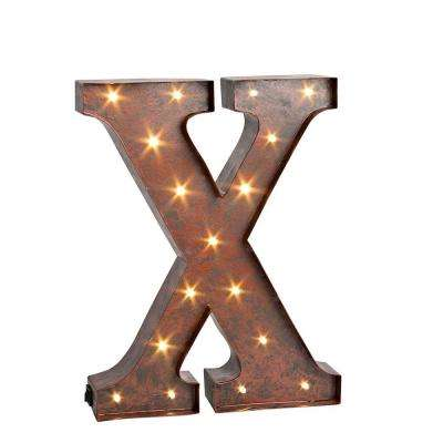 "12 in. H ""X"" Rustic Brown Metal LED Lighted Letter"