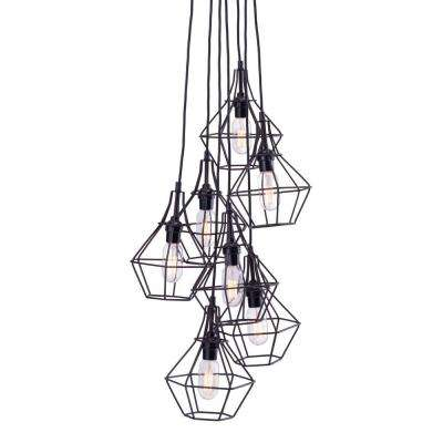 Palmerston 7-Light Distressed Black Ceiling Lamp