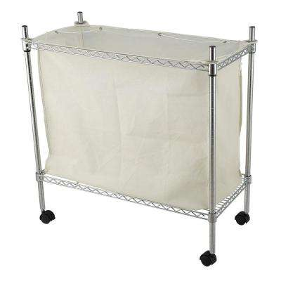 Chrome Laundry Cart with Canvas Bag