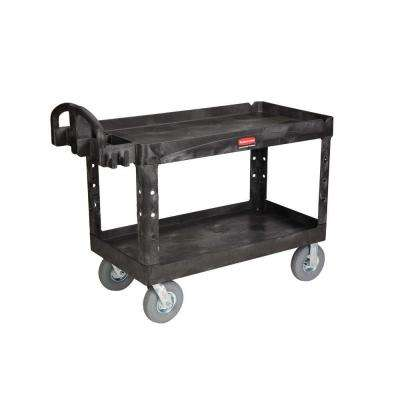 Heavy Duty Black 2-Shelf Utility Cart with Lipped Shelf in Large with Pneumatic Casters