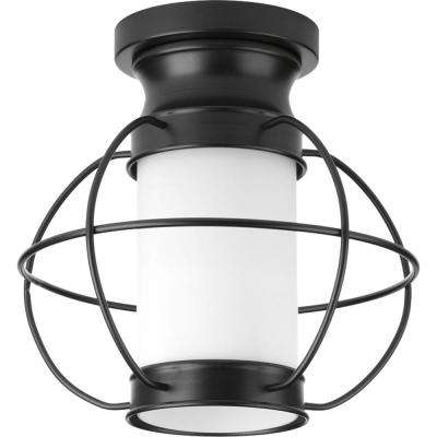 Haddon Collection 1-Light Black Outdoor Flush Mount