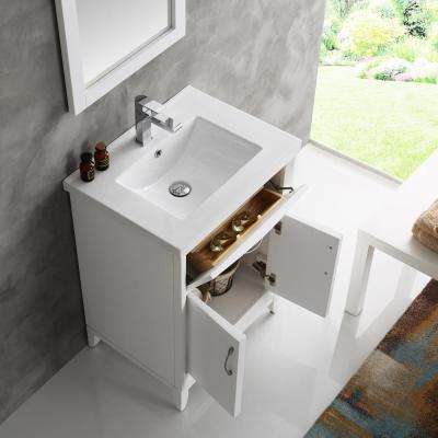 Cambridge 24 in. Vanity in White with Porcelain Vanity Top in White with White Ceramic Basin and Mirror