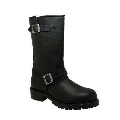 Men's Black Full-Grain Oiled Leather Engineer Boot