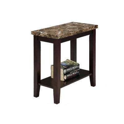 24 in. Traditional Dark Espresso Side/End Table with Marble Print Style