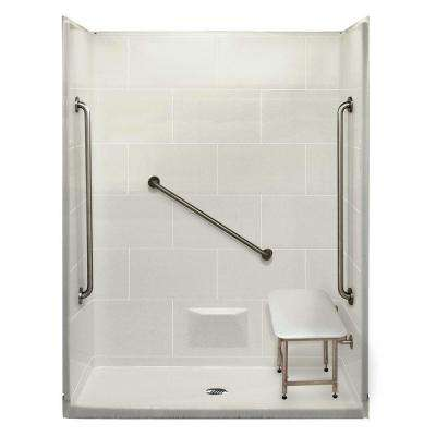 Plus 36 32 in. x 62 in. x 79 in. 5-piece Shower Kit in White with Center Drain