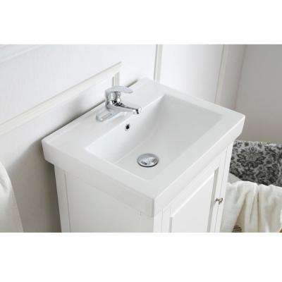 Balvin 20 in. W x 16.31 in. D Bath Vanity in Pure White with Ceramic Vanity Top in White with Integrated White Basin