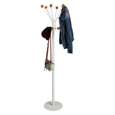 13.75 in. W x 71.75 in. H White Aluminum Coat Rack with Balled Edges