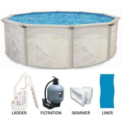 Round 52 in. Deep Metal Wall Above Ground Pool Package with Entry Step System