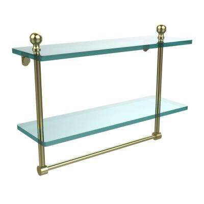 Mambo Collection 5 in. W x 16 in. L 2-Tiered Glass Shelf with Integrated Towel Bar in Satin Brass