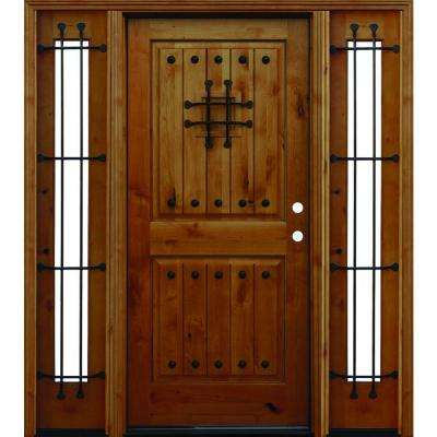 Mediterranean Rustic 2-Panel V-Groove Stained Knotty Alder Wood Prehung Front Door with 12 in. Sidelites