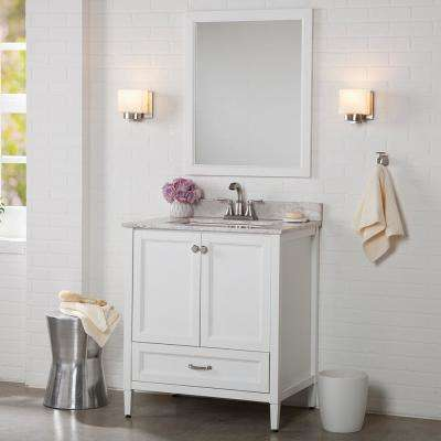 Claxby 31 in. W x 22 in. D Bathroom Vanity in White with Stone Effect Vanity Top in Winter Mist with White Sink