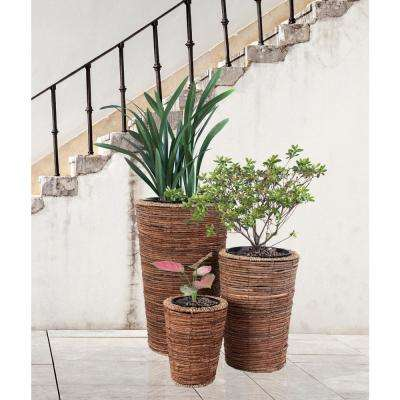 Wicker Banana Rope Tall Floor Planter with Metal Pot (Set of 3)
