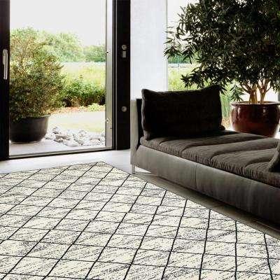 Matrix Geometric Trellis White Rectangle 2 ft. 1 in. x 7 ft. 5 in. Indoor Runner Rug