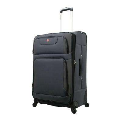 28 in. Gray and Black Spinner Suitcase