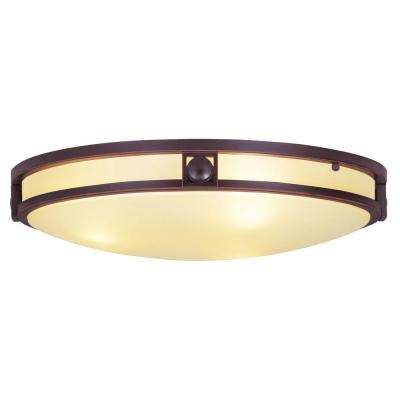 Livex Lighting 3-Light Bronze Flushmount with Iced Champagne Glass Shade
