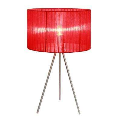 19.69 in. Brushed Nickel Tripod Table Lamp with Red Pleated Silk Sheer Shade
