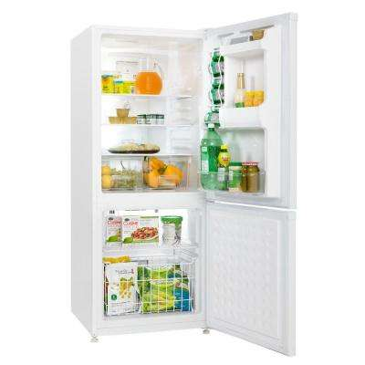 24 in. W 9.2 cu. ft. Bottom Freezer Refrigerator in White, Counter Depth