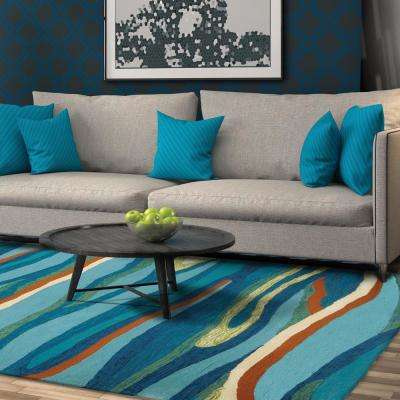 Ocean Waves Blue 5 ft. x 7 ft. Indoor/Outdoor Area Rug