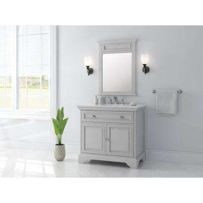 Sadie 38 in. W x 21.5 in. D Vanity in Dove Grey with Marble Vanity Top in Natural White with White Sink