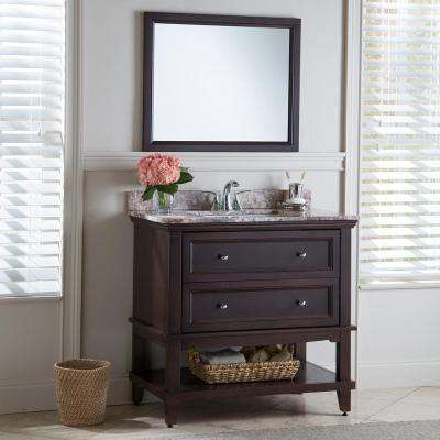 Teasian 36 in. W x 21 in. D Bathroom Vanity Cabinet Only in Chocolate