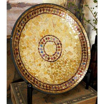 14 in. Dia Tan, Amber, Violet and Brown Mosaic Round Platter Decor with Easel Stand