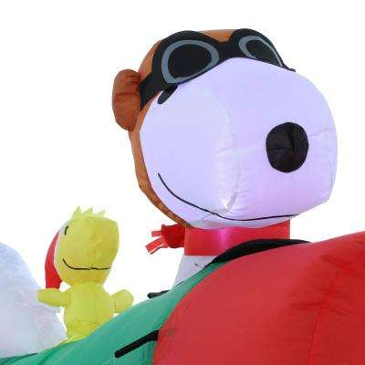 2.5 ft. Pre-lit Inflatable Snoopy in Airplane Airblown Scene-Peanuts