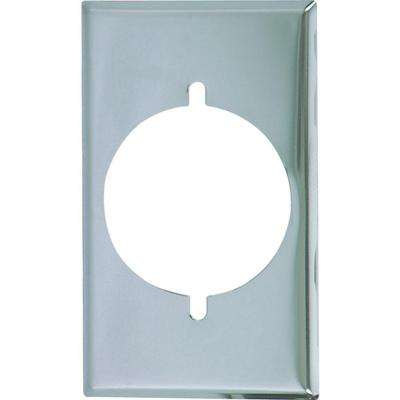 1 Gang Standard Size Power Single Outlet Plate - Chrome