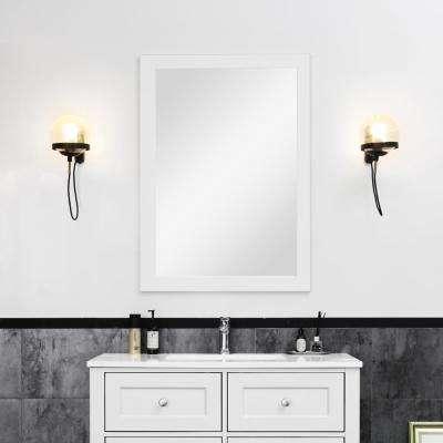 30 in. W x 36 in. H Bathroom Framed Wall Mirror in Dove Grey