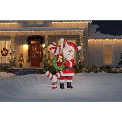Toasty Tinsel 93 in. Giant Santa with Joy Sign and LED Lights Yard Decoration