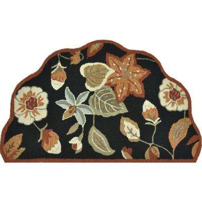Summerton Life Style Collection Black/Rust 2 ft. 3 in. x 3 ft. 9 in. Scalloped Hearth Area Rug