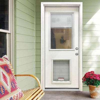 36 in. x 80 in. Classic Clear Mini-Blind LHIS White Primed Fiberglass Prehung Front Door with SL Pet Door