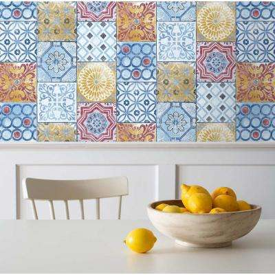 Colorful Moroccan Tile Peel and Stick Wallpaper 30.75 sq. ft.