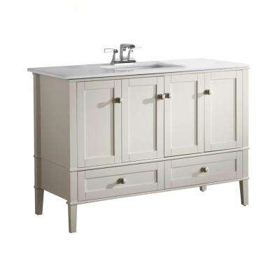 Chelsea 48 in. Vanity in Soft White with Quartz Marble Vanity Top in White and Under-Mounted Rectangular Sink