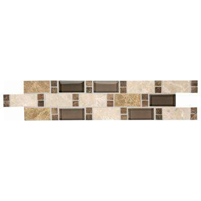 Stone Decor Parallel Vision 3 in. x 14 in. Stone and Glass Decorative Accent Tile