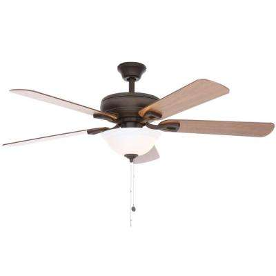 Rothley 52 in. Indoor Oil-Rubbed Bronze Ceiling Fan with Shatter Resistant Light Shade