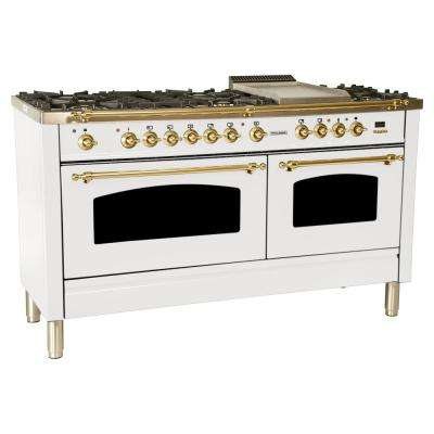 60 in. 6 cu. ft. Double Oven Dual Fuel Italian Range with True Convection, 8 Burners, Griddle, Brass Trim in White