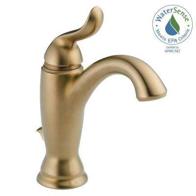 Linden Single Hole Single-Handle Bathroom Faucet with Metal Drain Assembly in Champagne Bronze