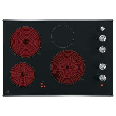 30 in. Radiant Electric Cooktop in Stainless Steel with 4 Elements including Power Boil