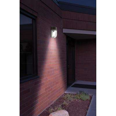 10 in. Bronze Outdoor Integrated LED Wall Pack Light Dusk - Dawn 100 Watt Metal Halide Equivalent w/photocell 1800 Lumen