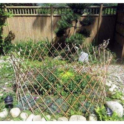 24 in. H x 36 in. Dia Peeled Willow Circular Lattice Trellis Fence Light Mahogany Color