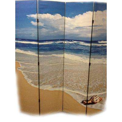 71 in. x 64 in. 4-Panel Seashell by The Seashore Printed on Canvas Room Divider