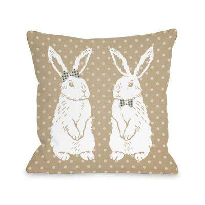 Bunny Friends Tan 16 in. x 16 in. Decorative Pillow